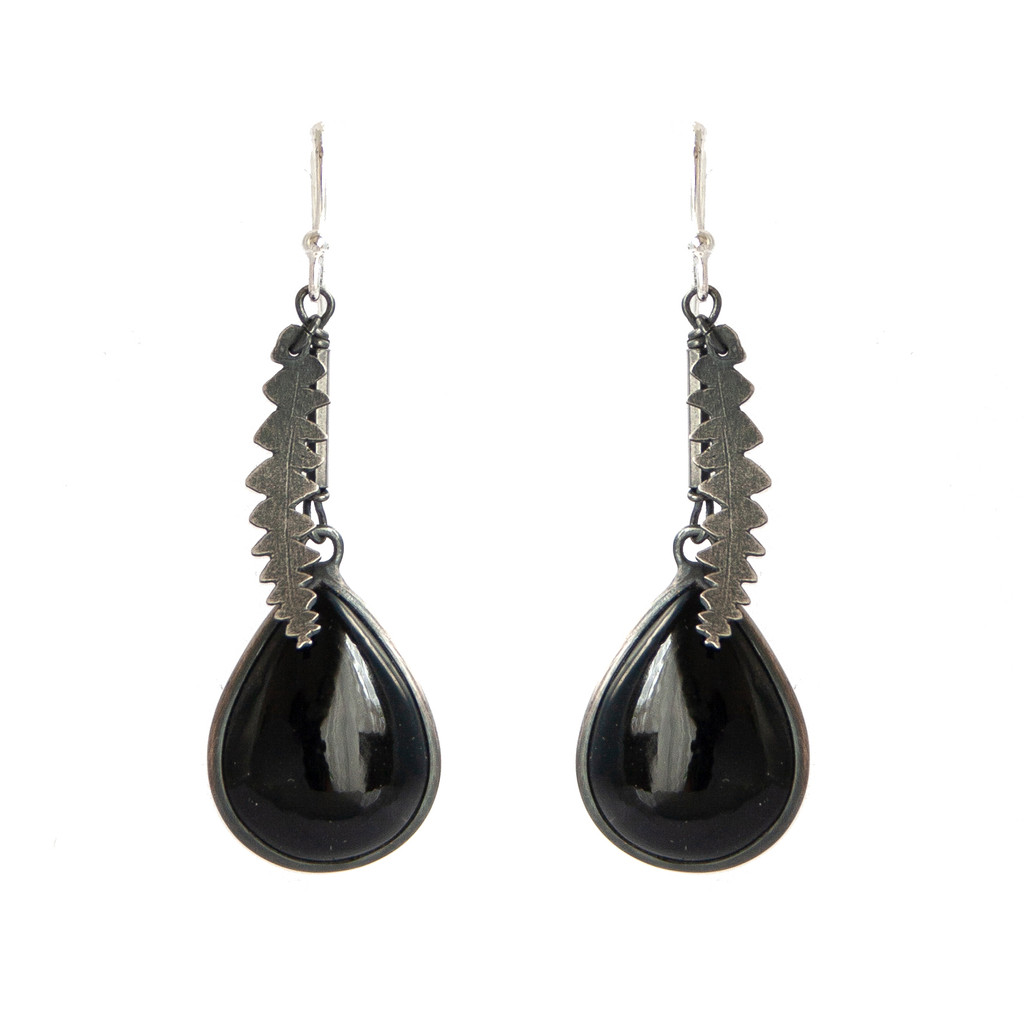 Silver and onyx banksia earrings