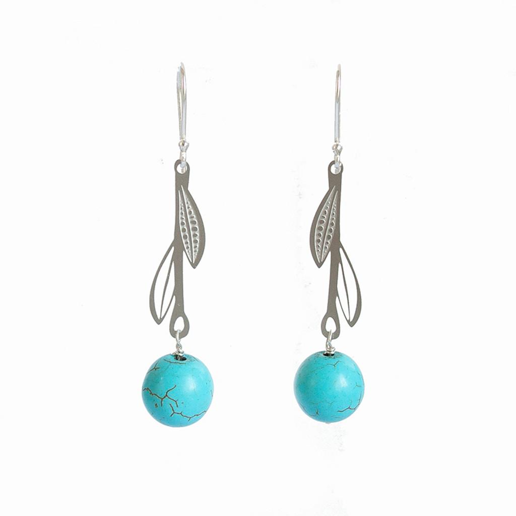 Aqua Howlite steel leaf drop earrings