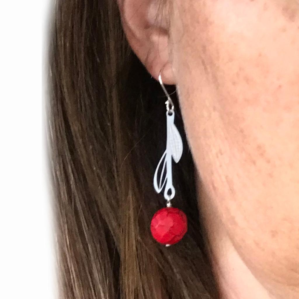 Red Howlite steel leaf drop earrings