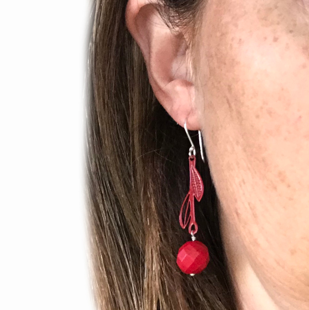 Red Howlite and red steel leaf drop earrings