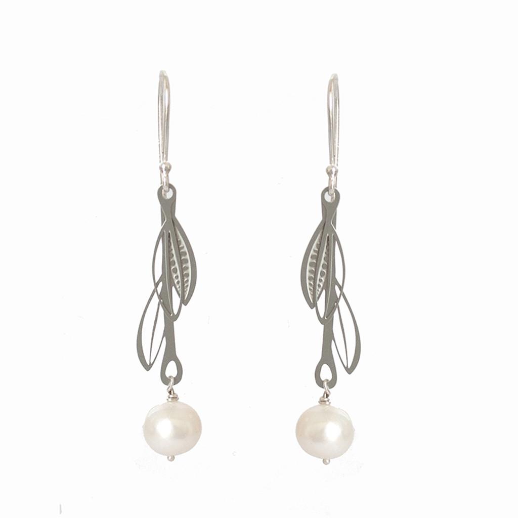 Fresh water pearl steel double leaf drop earrings
