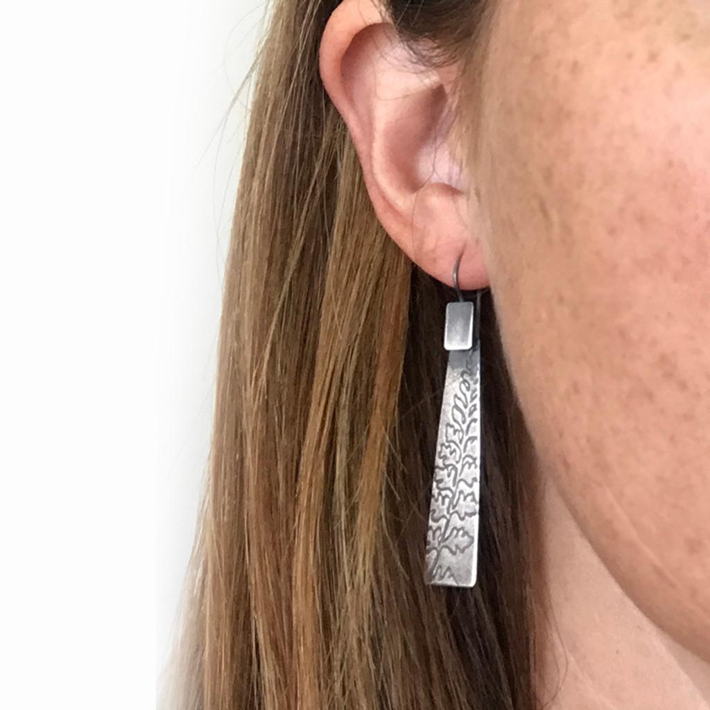 Fern sterling silver rectangle earrings