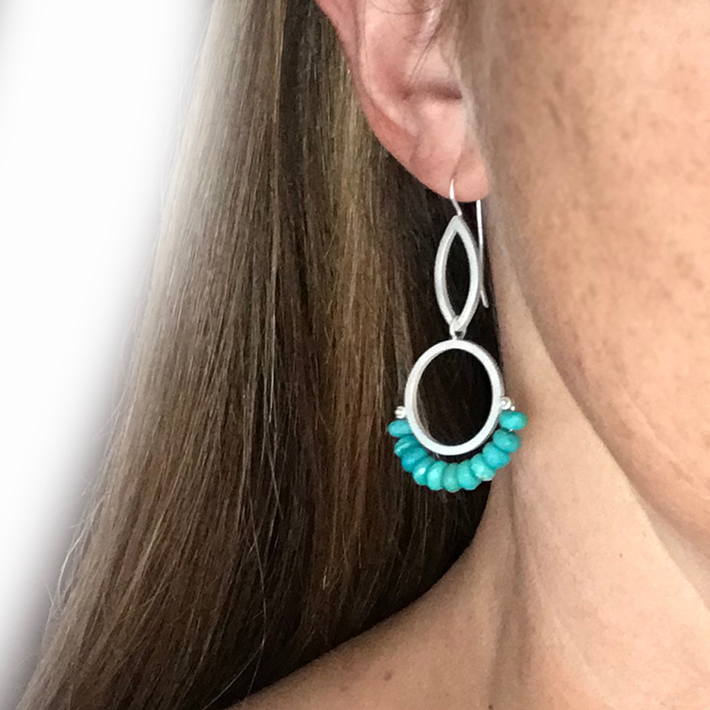 Cirque petal turquoise sterling silver earrings