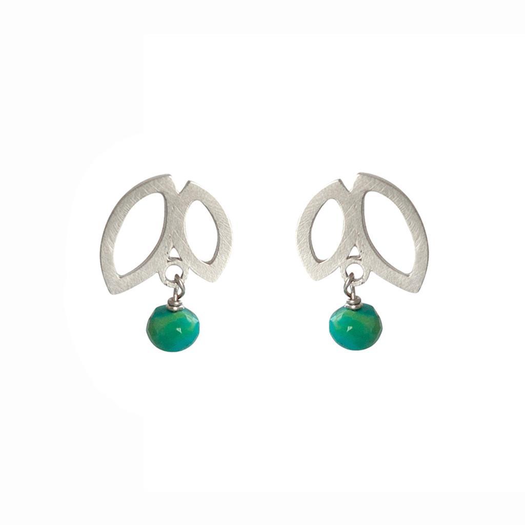 Double petal turquoise stud earrings