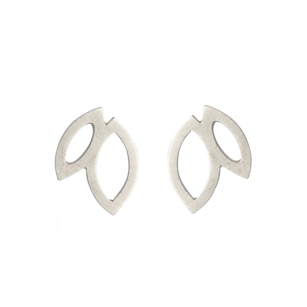 Double petal sterling silver stud earrings