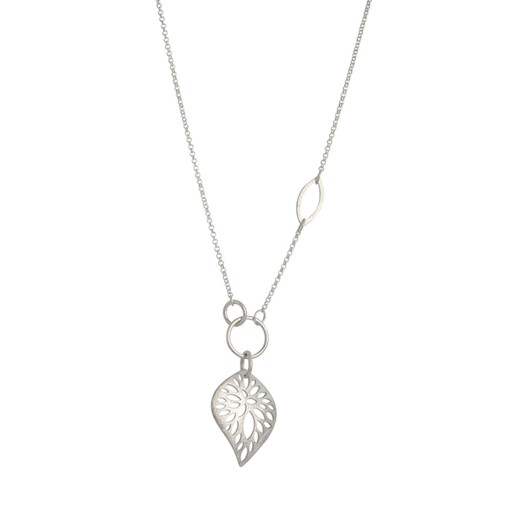 Radiating leaf sterling silver necklace