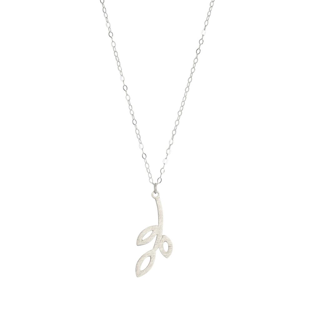 Three leaf sterling silver pendant drop