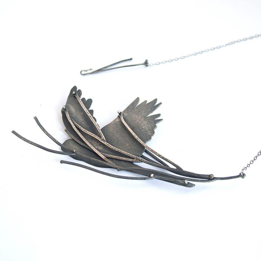 Cockatoo flight necklace in sterling silver