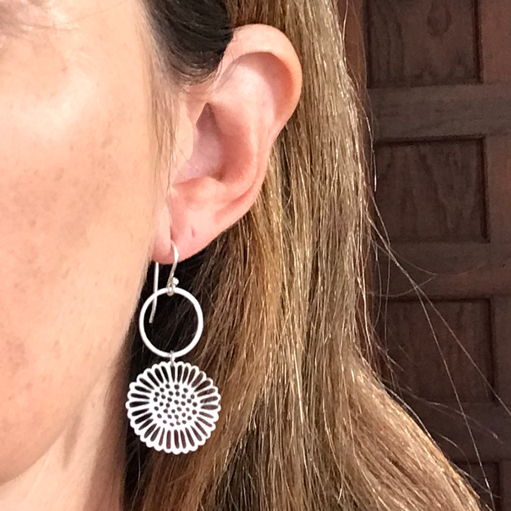 Hammered silver and steel dot daisy earrings