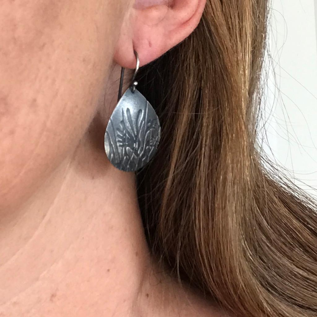 Anigozanthos silver tear drop earrings