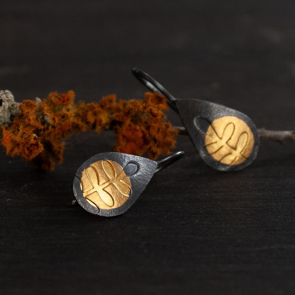 Fern gold and silver tear drop earrings