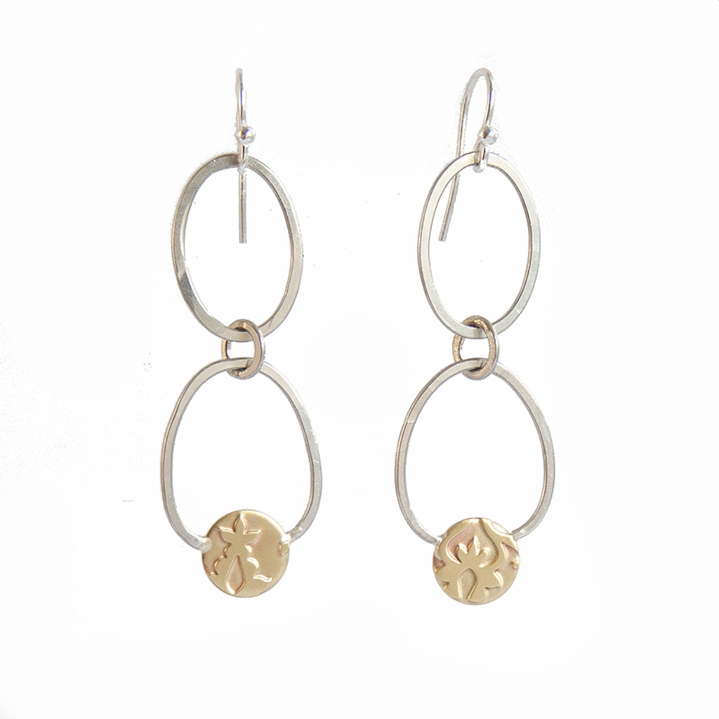 Embrace dangle earrings sterling silver and brass by Robin Wells