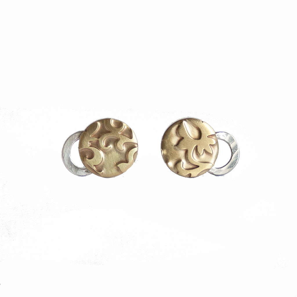 Hug studs sterling silver and brass by Robin Wells