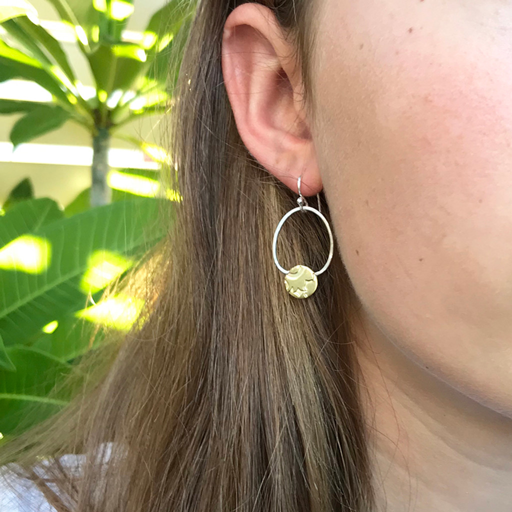 Embrace earrings - Sterling silver and brass