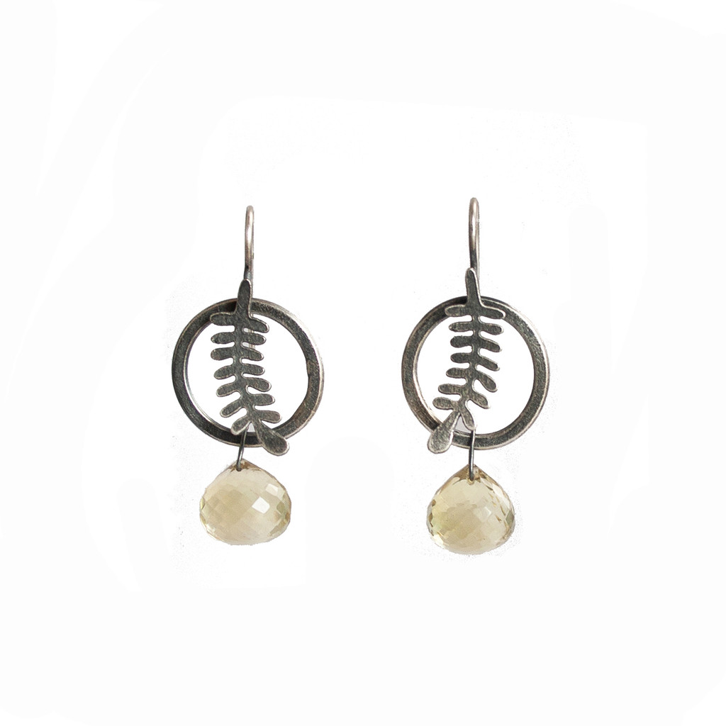 Circle Fern earrings - sterling silver and citrine