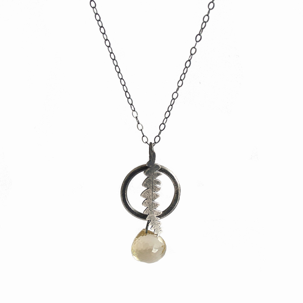 Circle banksia pendant - sterling silver and citrine