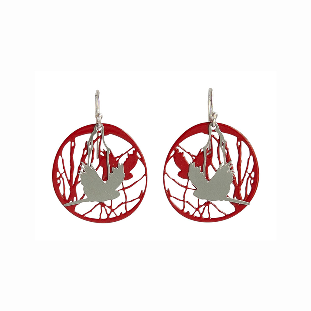 Bird and branch steel earrings with red background