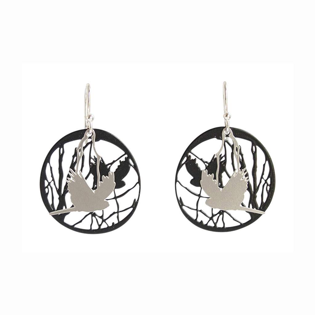 Bird and branch steel earrings with black background