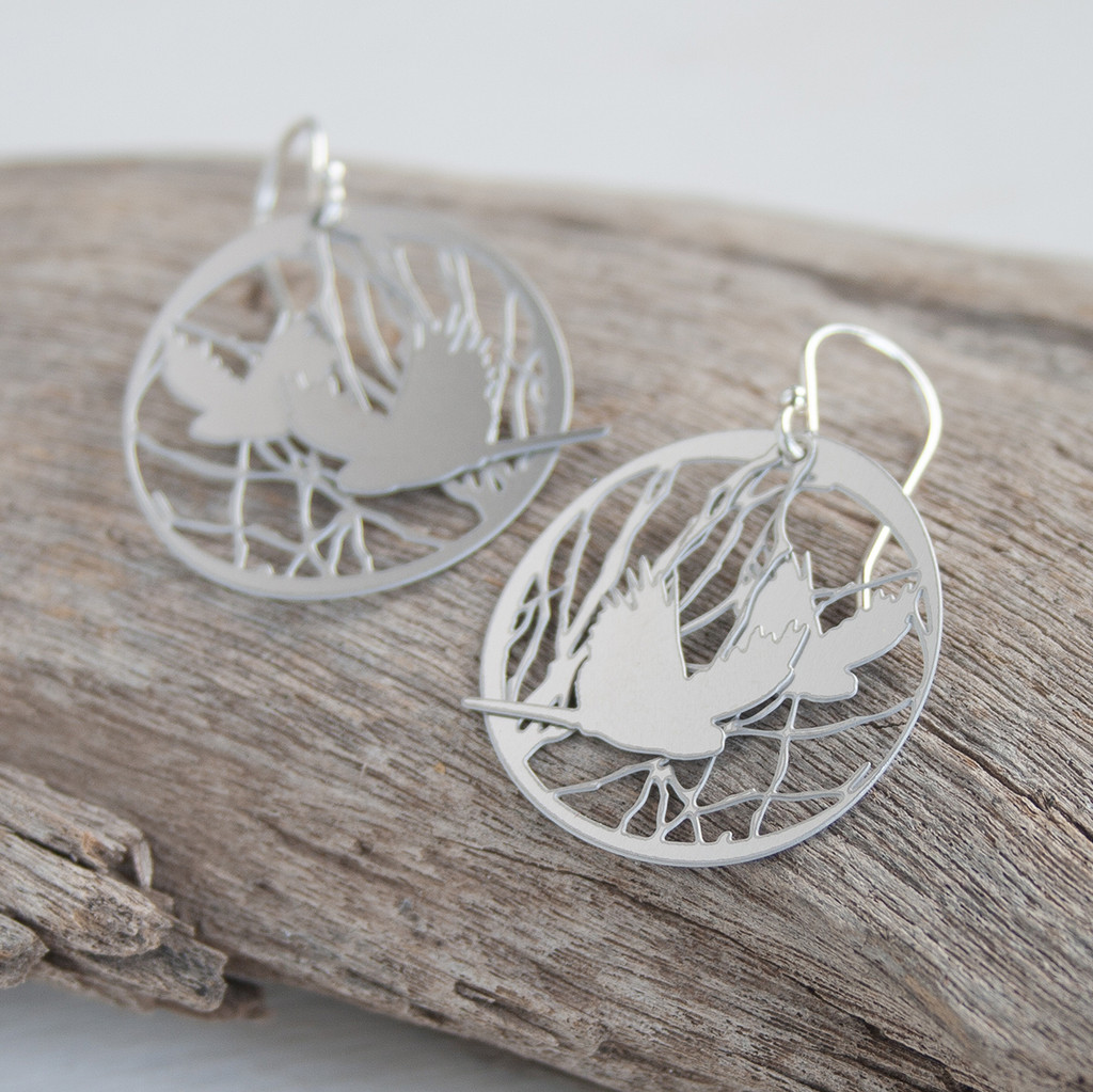 Bird and branch steel layered earrings