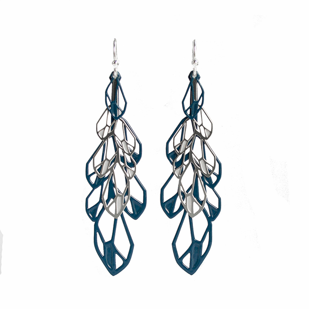 Feather earrings Large dark blue background (BUY ONE GET ONE FREE T&C's apply)