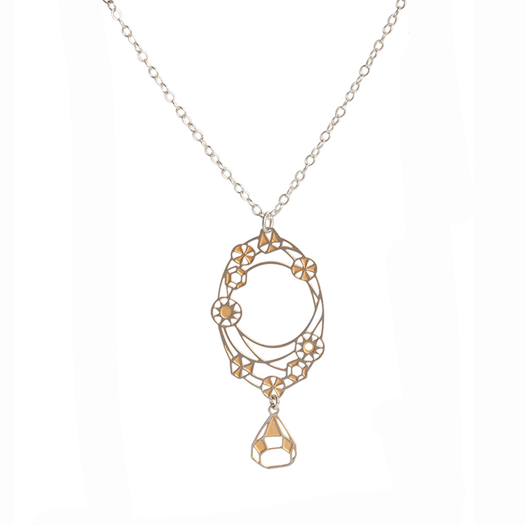 Oval facet two tone steel diamond drop pendant (BUY ONE GET ONE FREE T&C's apply)