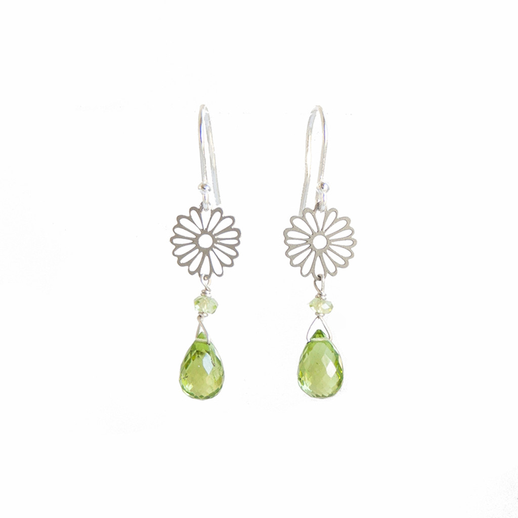 Daisy Peridot steel drop earrings