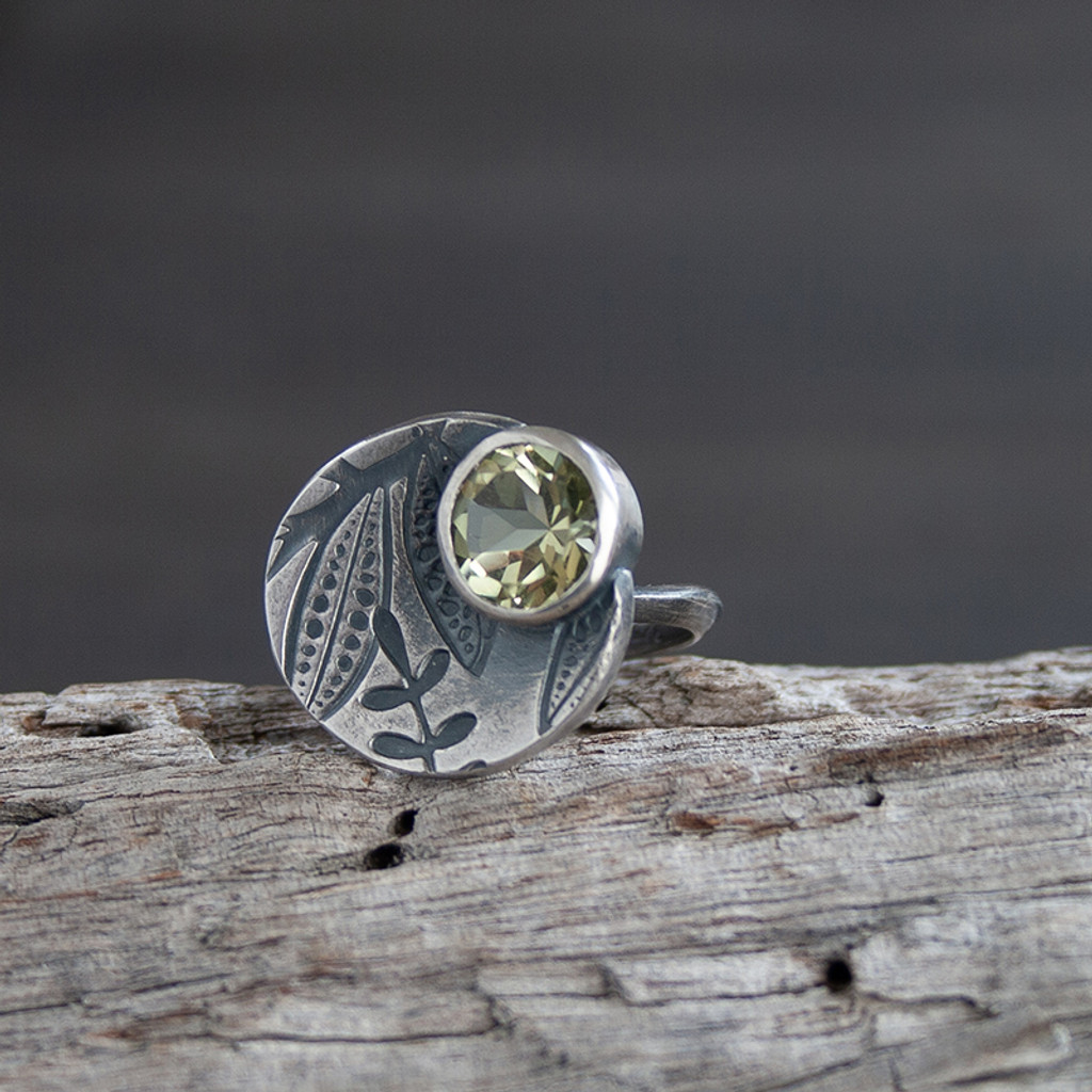 Circ lemon quartz Cocktail Ring