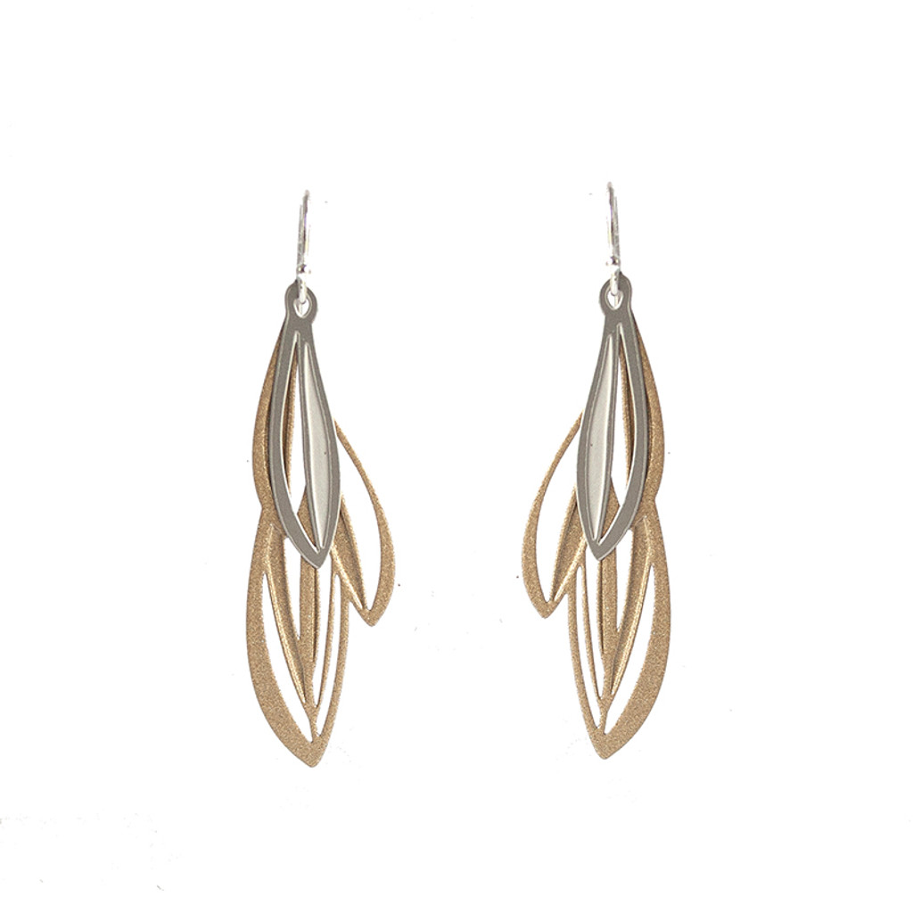 Double leaf earrings gold & silver