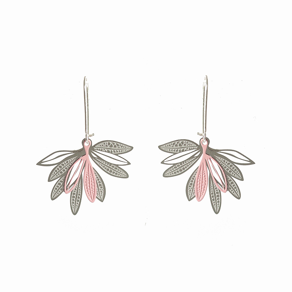Pink and silver Elegant fan shape earrings made up of layered leaves based on the foliage of the native Eremophila plant.  These earrings have two layers of contrasting powdercoated stainless steel with the raw steel.