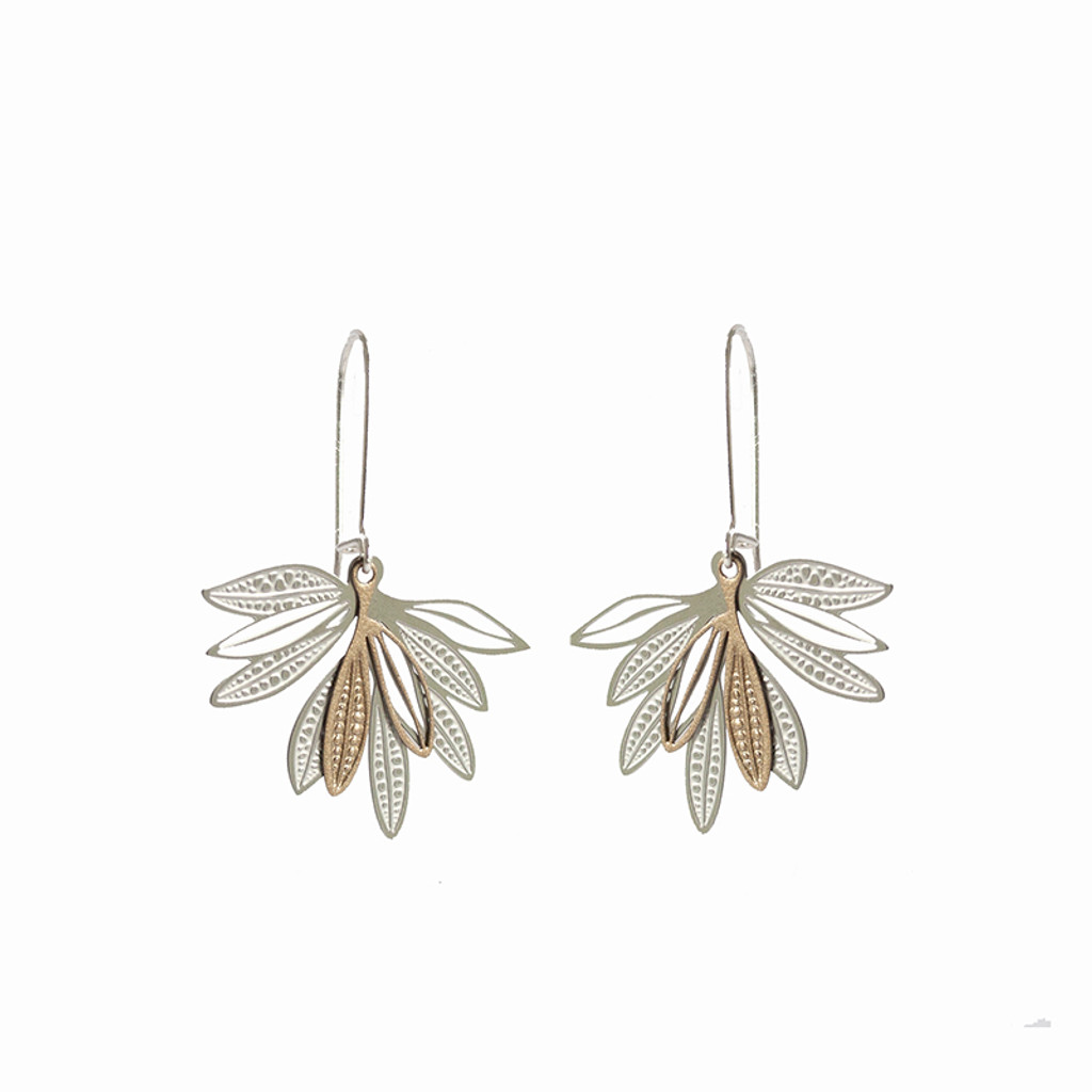 gold and silver Elegant fan shape earrings made up of layered leaves based on the foliage of the native Eremophila plant.  These earrings have two layers of contrasting powdercoated stainless steel with the raw steel.  Hung on a long sterling silver hook that clips in at the back for added security