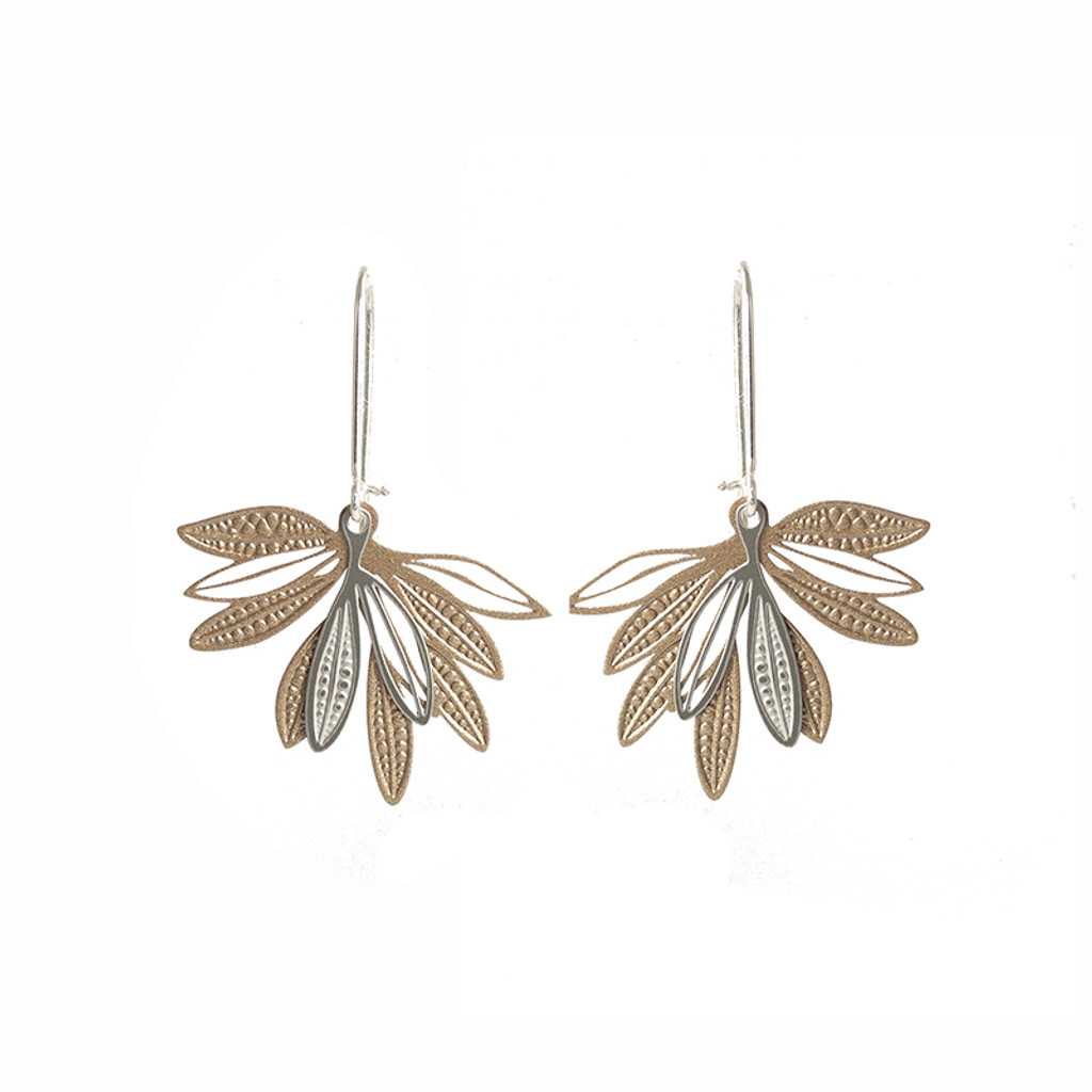 Fanned leaf earrings gold & silver