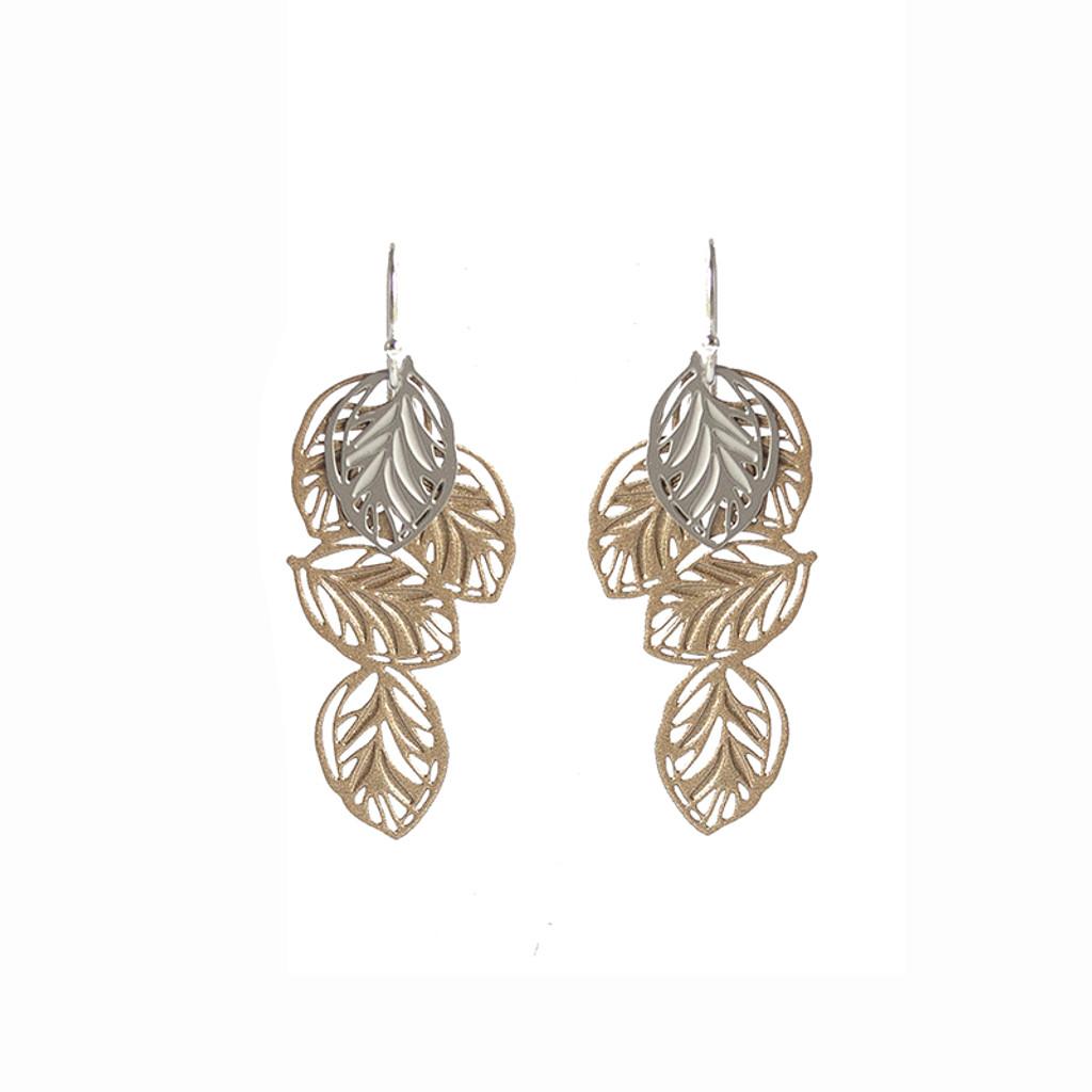 Lots of leaves earrings gold & silver