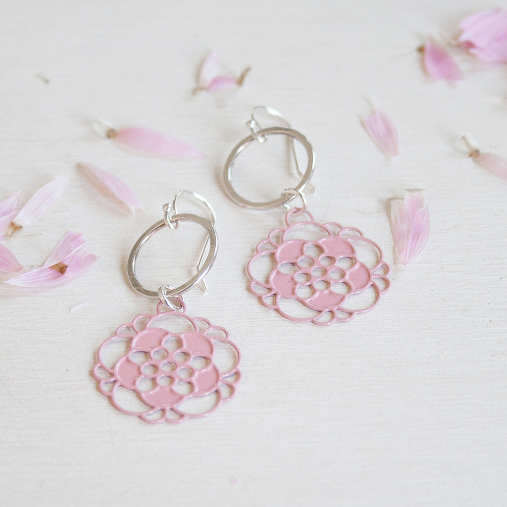 Hammered silver and pink coloured steel petal earrings