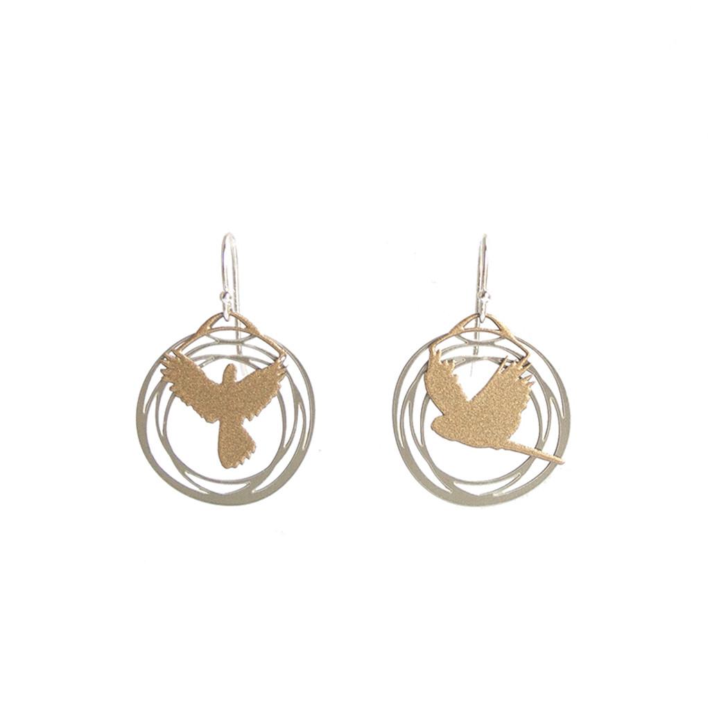 Steel and gold flight earrings