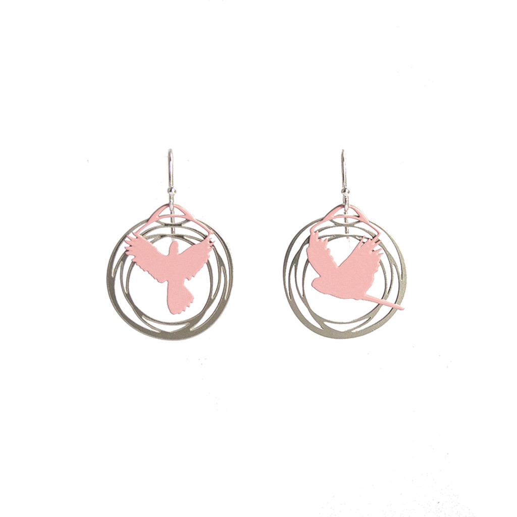 Steel and pink flight earrings