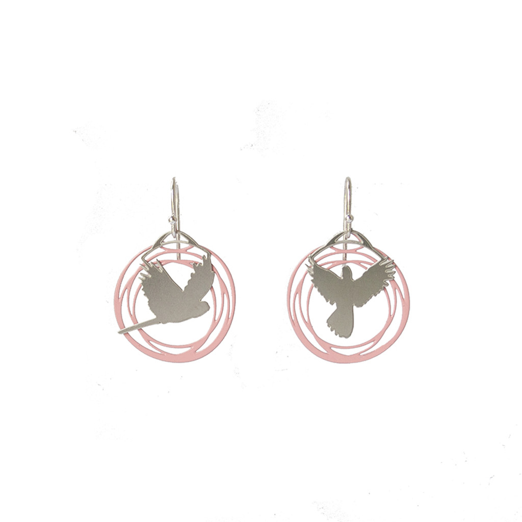 Pink and steel flight earrings