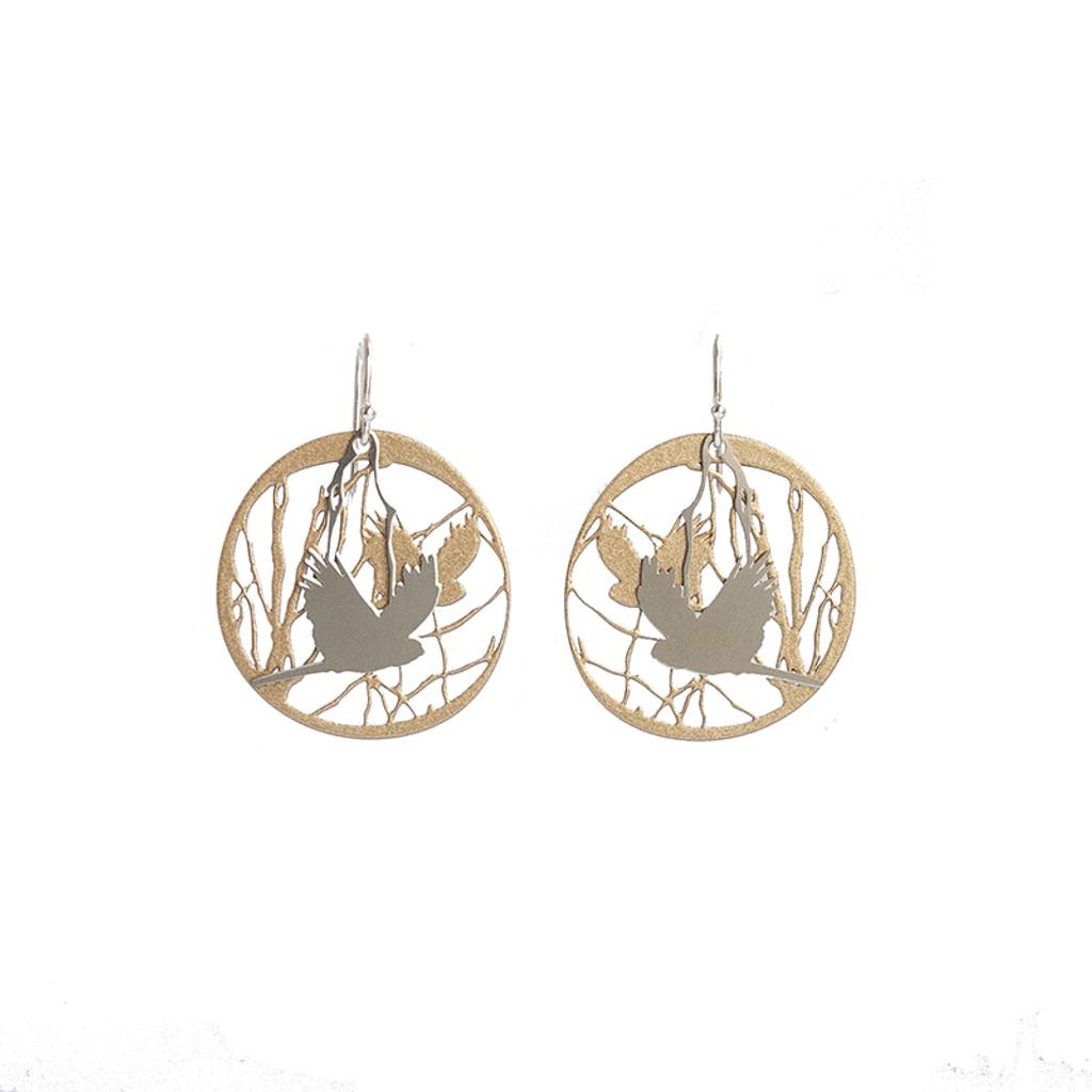 Bird and branch gold & steel earrings