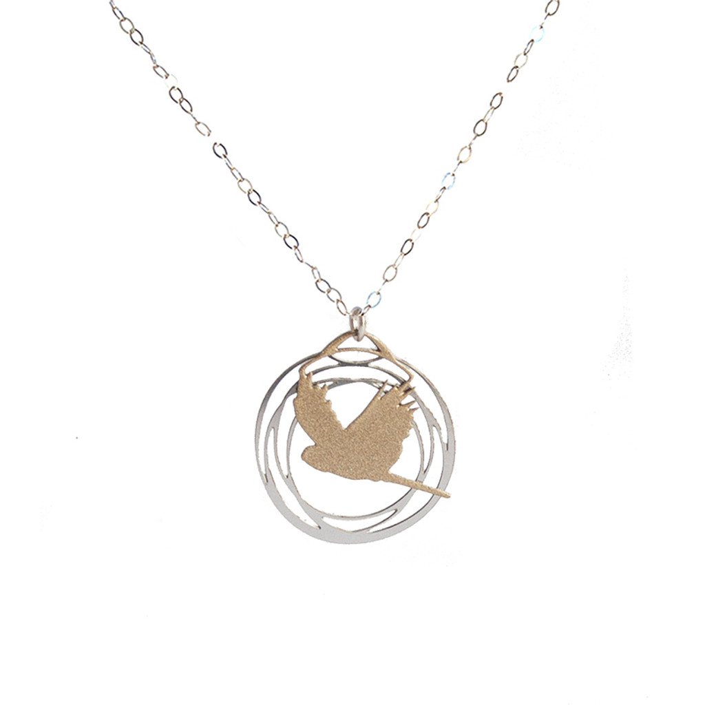 Flight pendant silver & gold
