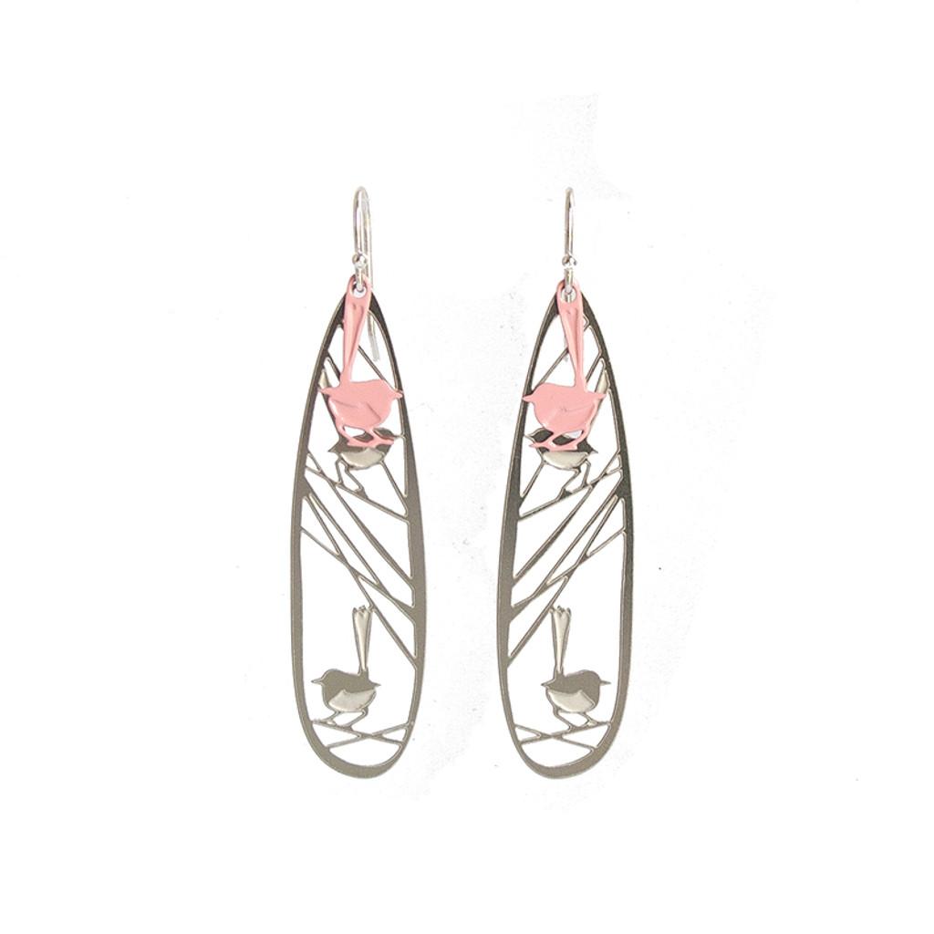 Wren earrings steel & pink