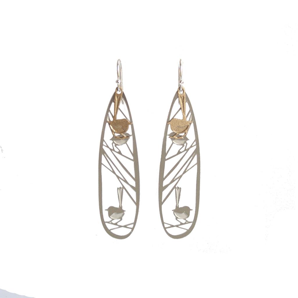 Wren earrings steel & gold
