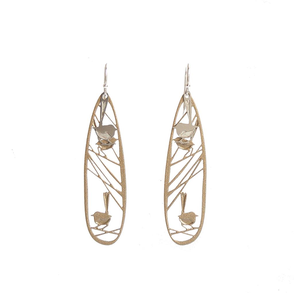 Wren earrings gold & steel