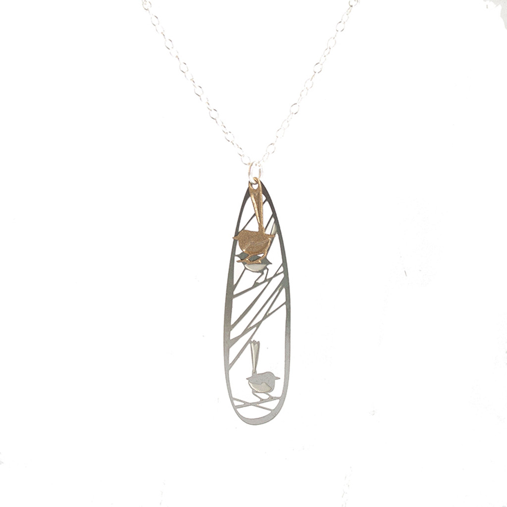 Wren pendant gold & steel