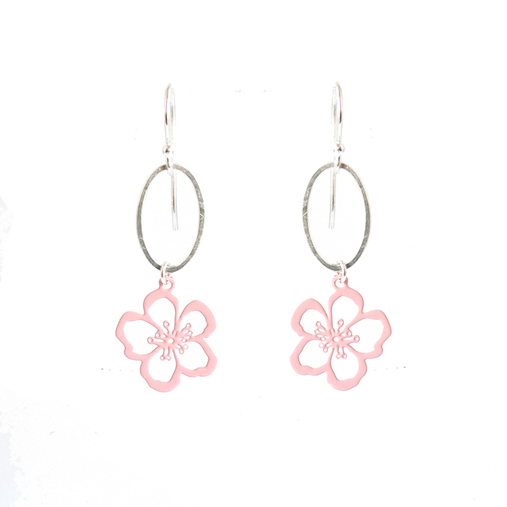Hammered silver and pink steel Geraldton Wax  earrings