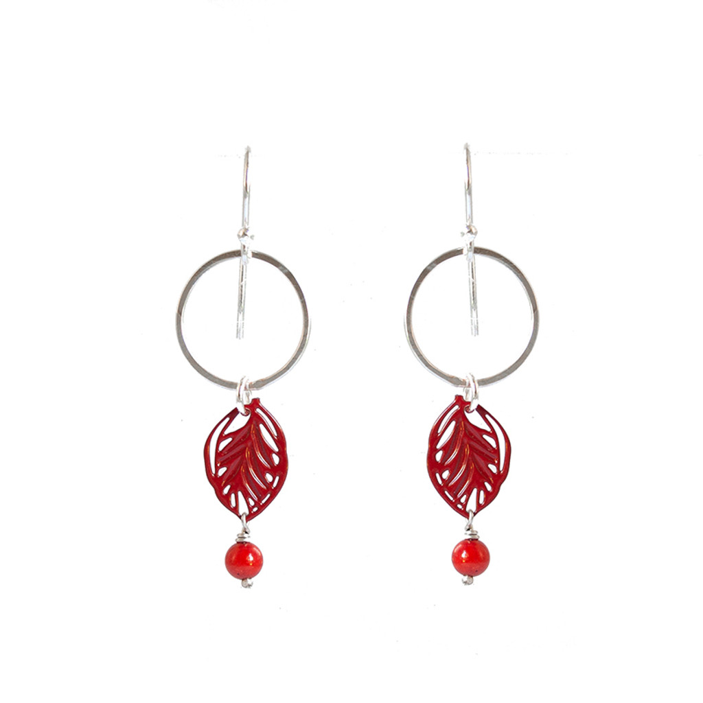 Hammered silver and red steel leaf earrings