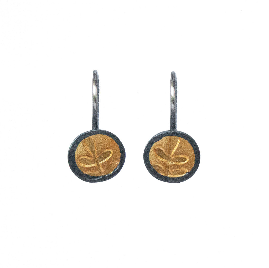 Fern gold and silver small hook earrings
