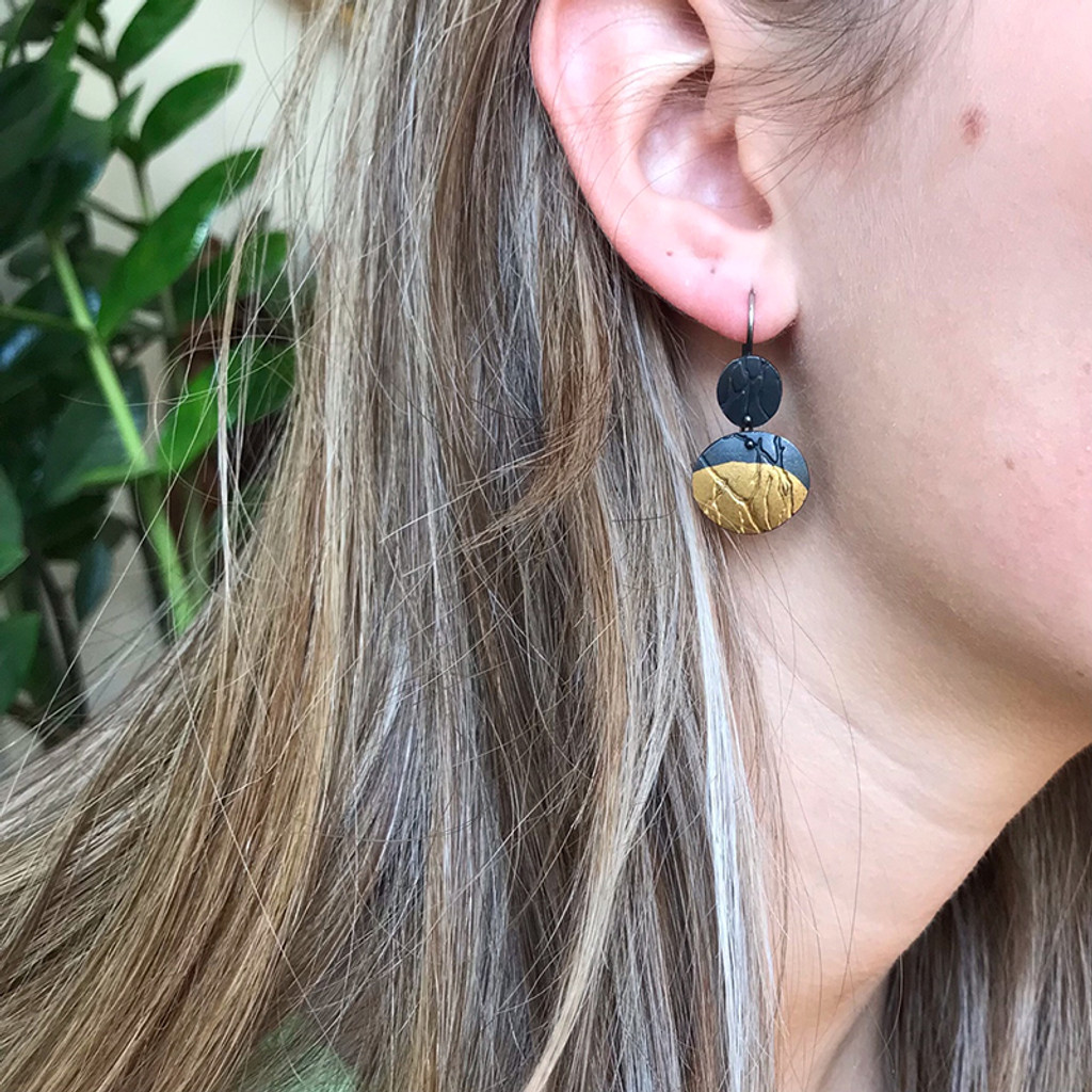 Moonrise gold and silver earrings