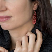 Red branch earrings