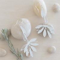 Fanned leaf drop earrings