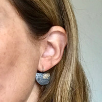 Small 9ct gold and silver leaf imprint earrings