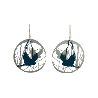 Bird and branch earrings made from stainless steel with powdercoat colour